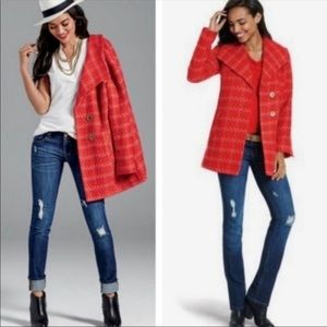 CABI Red Tweed Jacket. Style #3031 Small